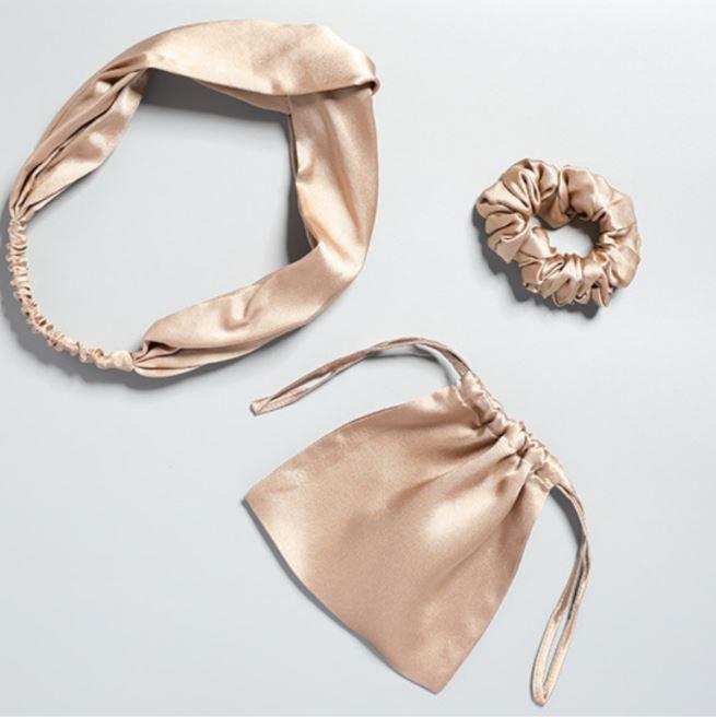 luxury-22-momme-mulberry-silk-hair-ties-set-3pcs-1-hair-scrunchie-1-elastic-twisted-headband-1-storage-bag-color-golder