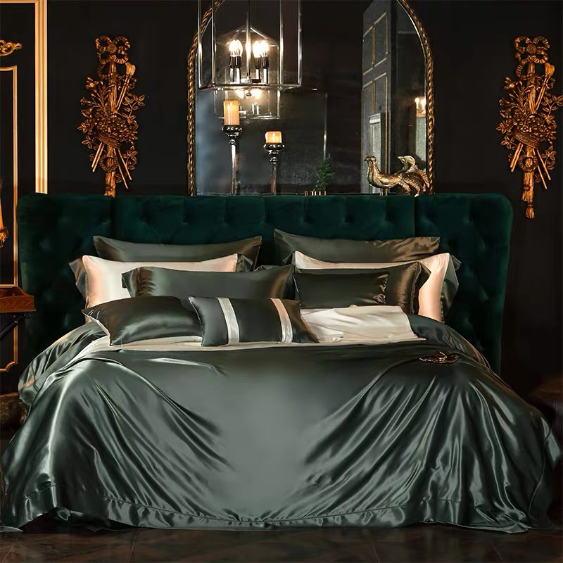 25-momme-luxury-100-percent-mulberry-silk-bed-set-with-resin-buttons-color-dark-green